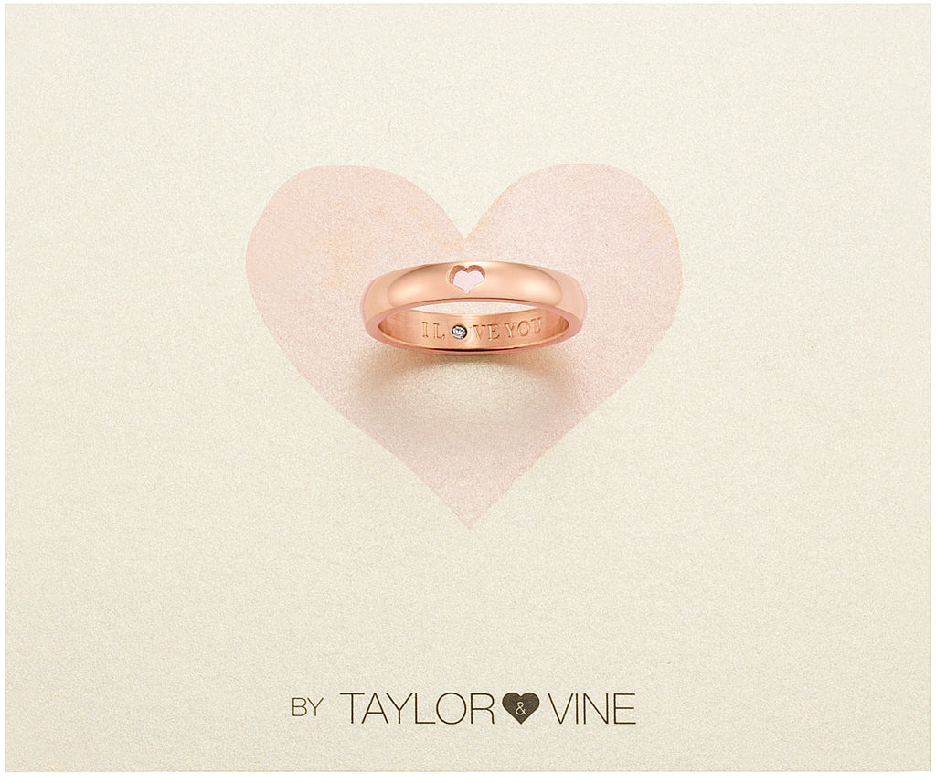 Taylor and Vine Secret Love Stones Rose Gold Heart Ring Engraved I Love You