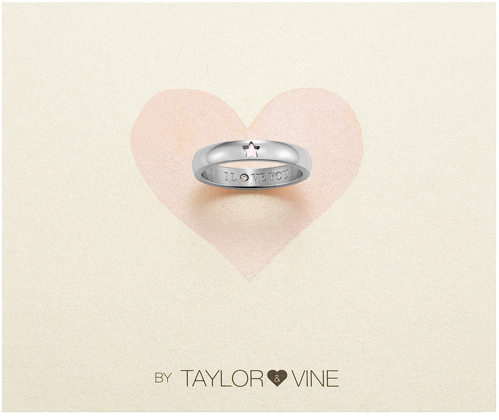 Taylor and Vine Secret Love Stones SIlver Star Ring Engraved I Love You