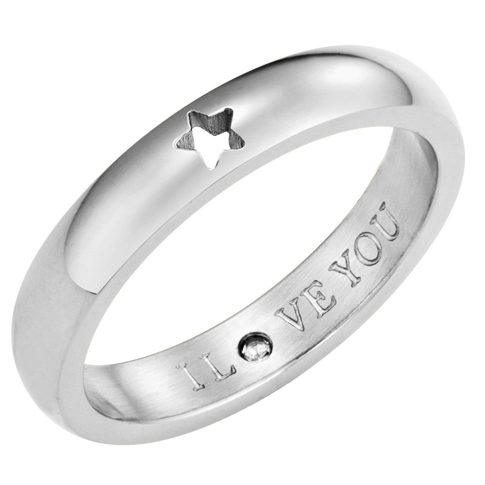 Taylor and Vine Secret Love Stones SIlver Star Ring Engraved I Love You 1