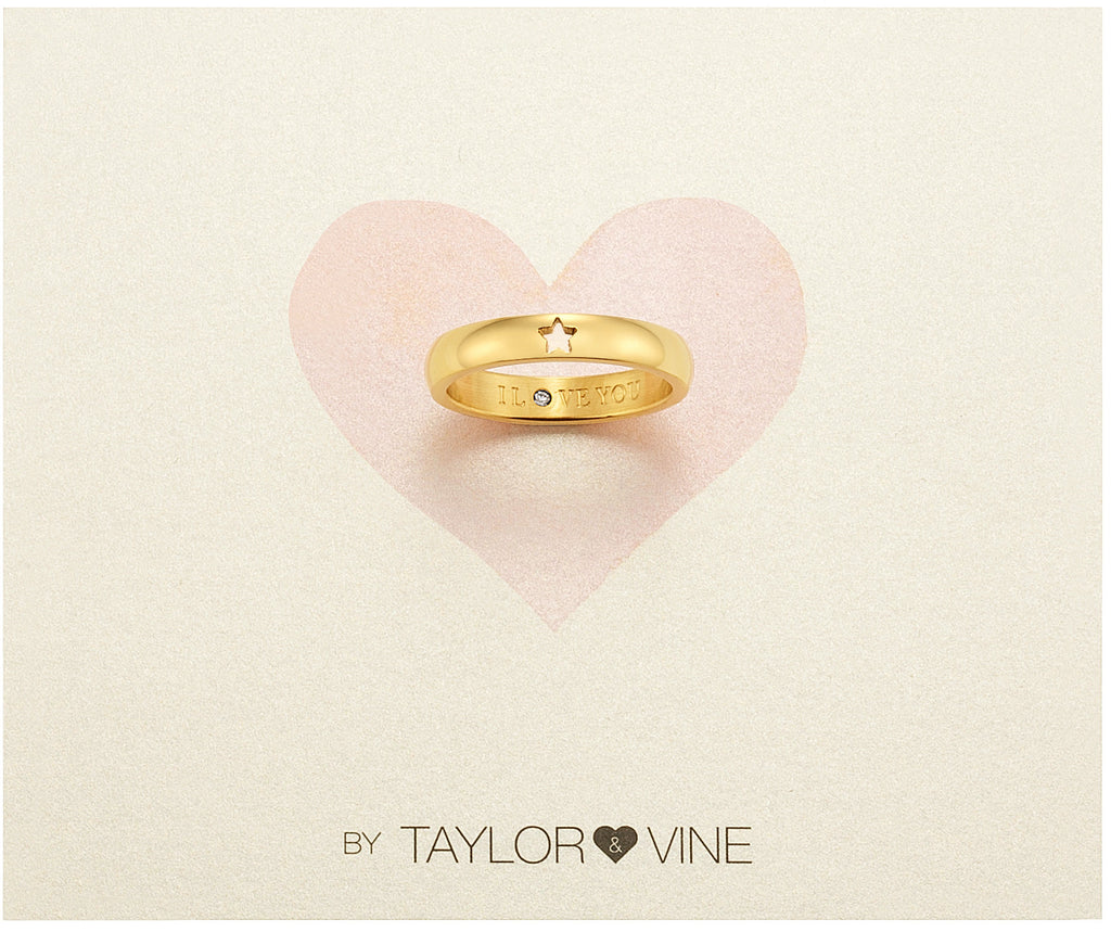 Taylor and Vine Secret Love Stones Gold Star Ring Engraved I Love You