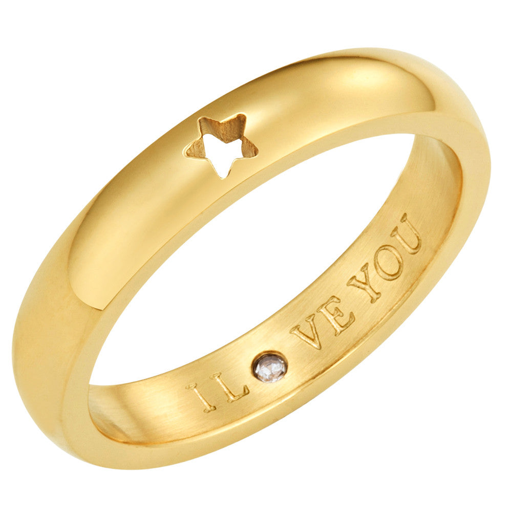 Taylor and Vine Secret Love Stones Gold Star Ring Engraved I Love You 1