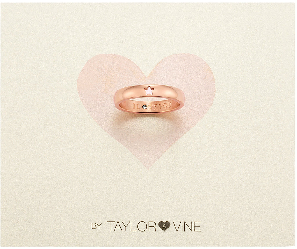 Taylor and Vine Secret Love Stones Rose Gold Star Ring Engraved I Love You