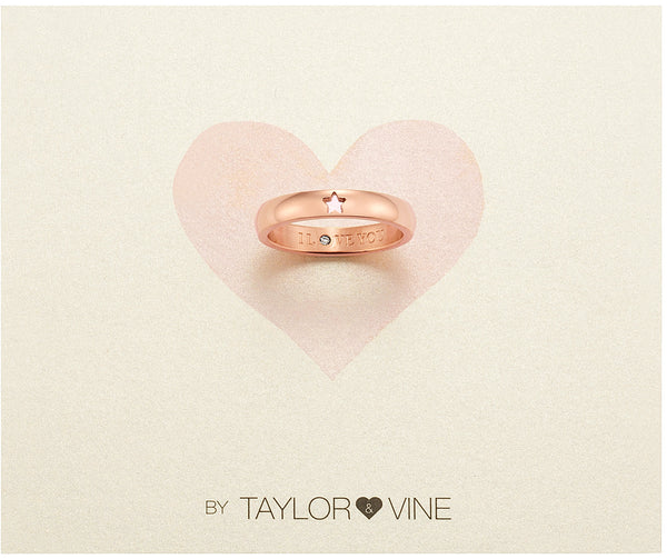 Secret Love Stones Star Ring engraved I Love You with CZ, Rose Gold