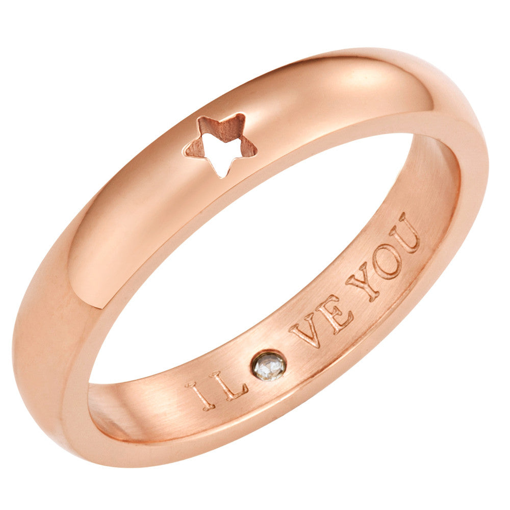 Taylor and Vine Secret Love Stones Rose Gold Star Ring Engraved I Love You 1