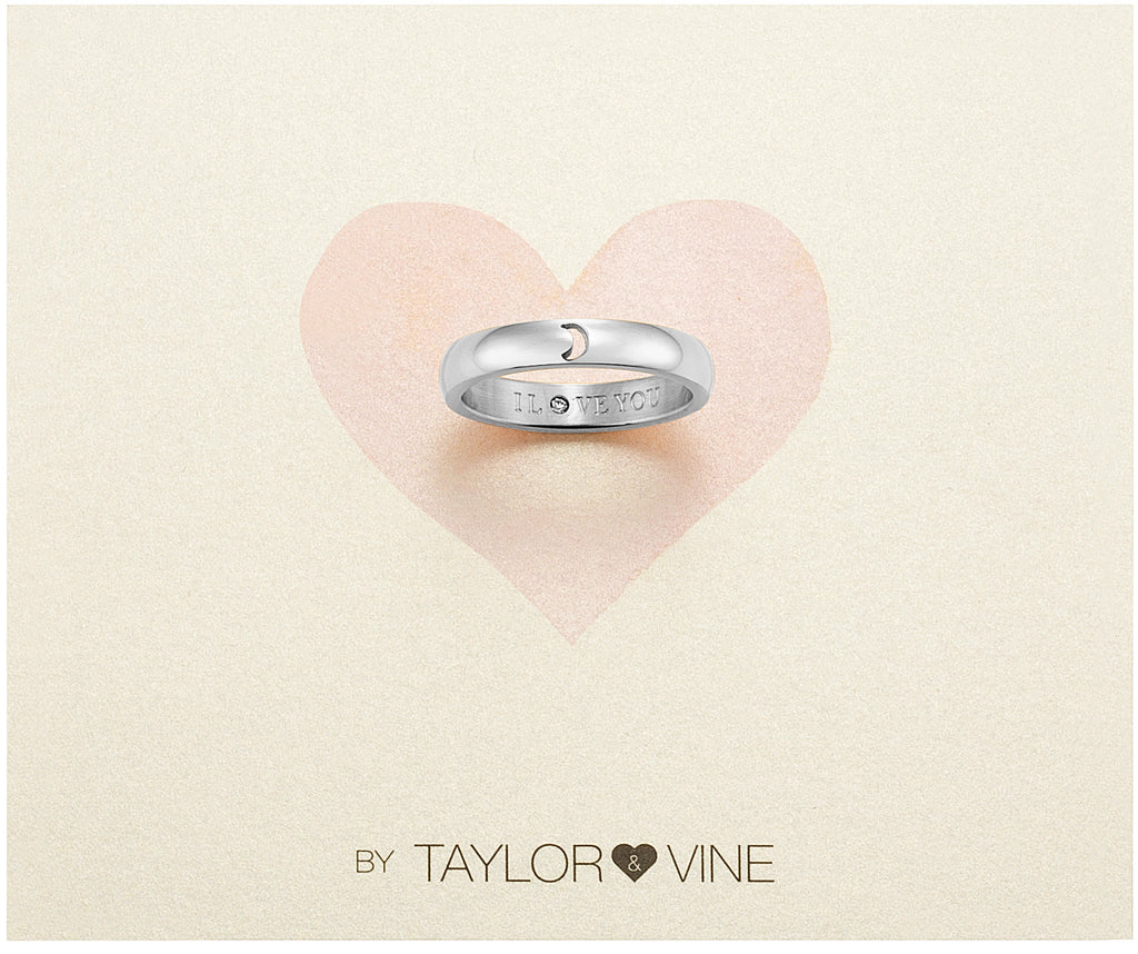 Taylor and Vine Secret Love Stones SIlver Moon Ring Engraved I Love You