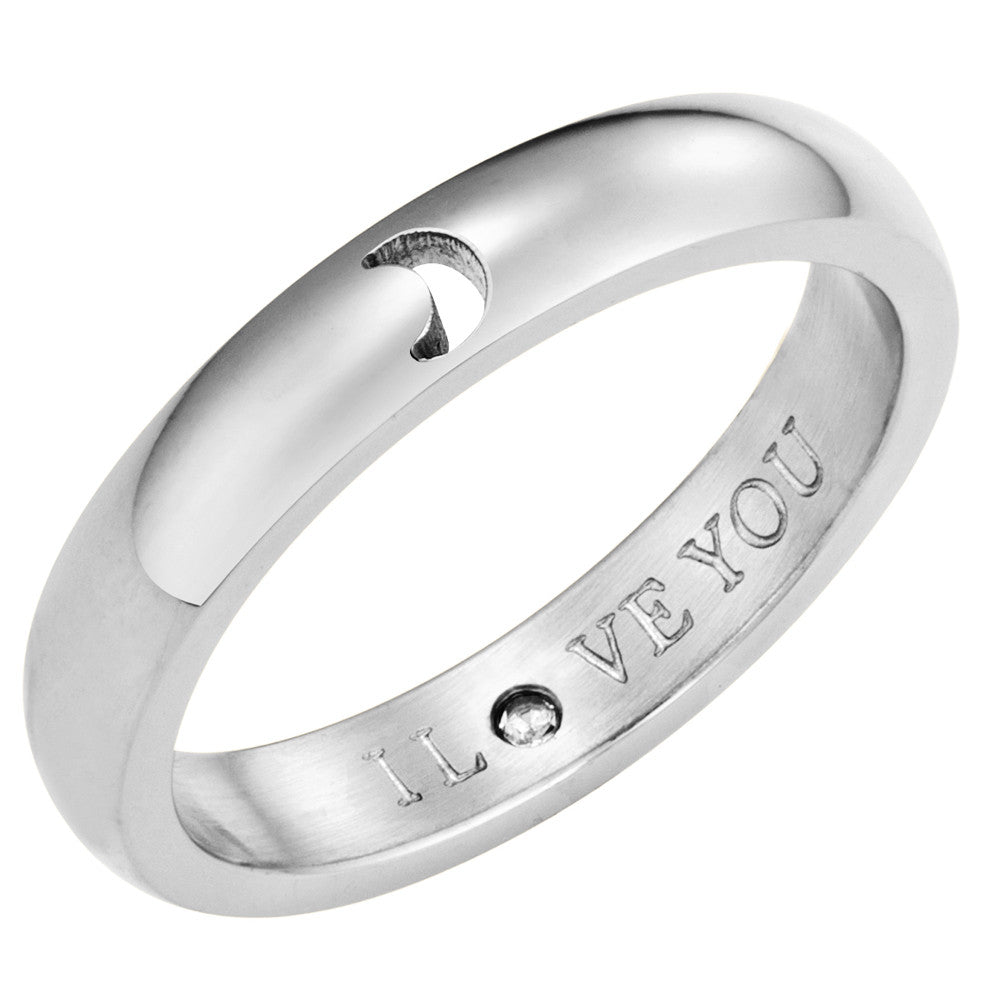 Taylor and Vine Secret Love Stones SIlver Moon Ring Engraved I Love You 1