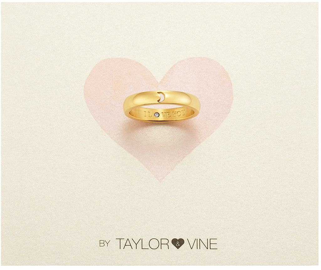 Taylor and Vine Secret Love Stones Gold Moon Ring Engraved I Love You