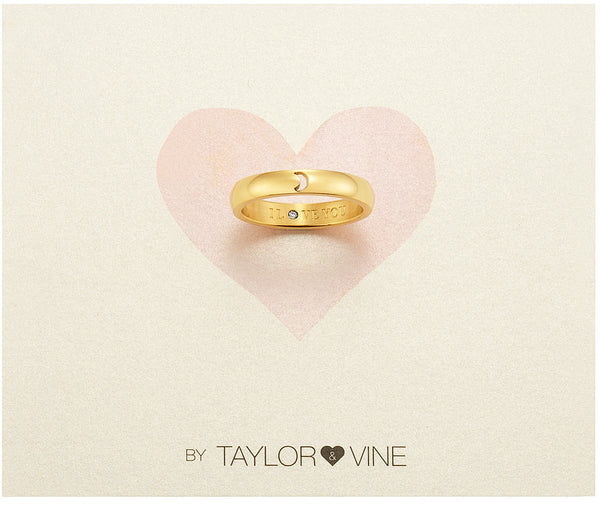 Secret Love Stones Moon Ring engraved I Love You with CZ, Gold