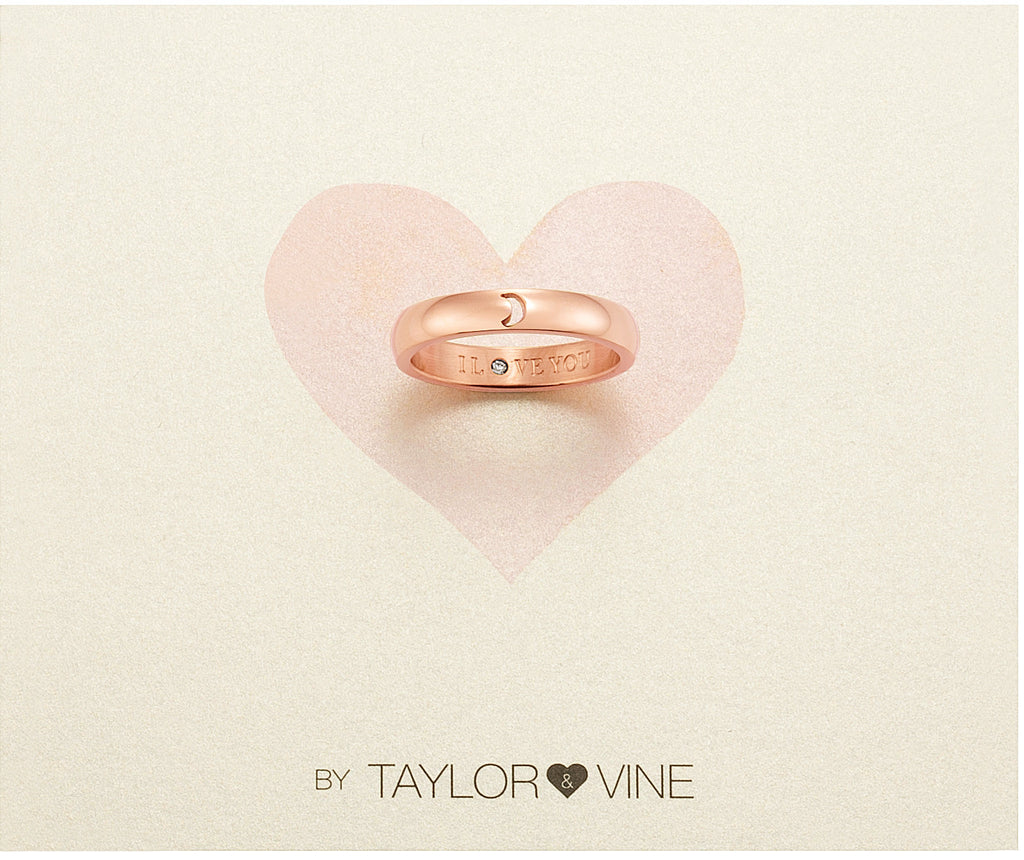 Taylor and Vine Secret Love Stones Rose Gold Moon Ring Engraved I Love You