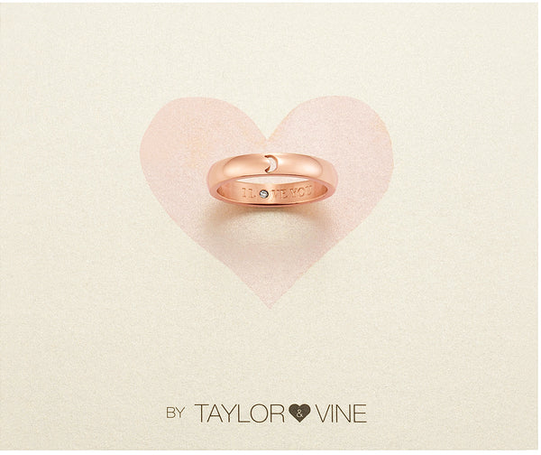 Secret Love Stones Moon Ring engraved I Love You with CZ, Rose Gold