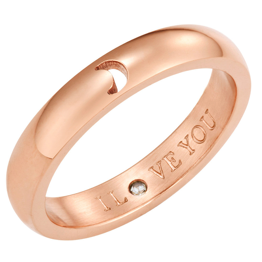 Taylor and Vine Secret Love Stones Rose Gold Moon Ring Engraved I Love You 1