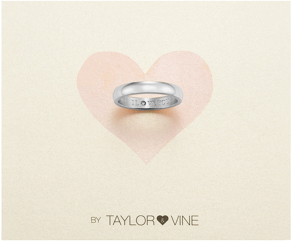 Taylor and Vine Secret Love Stones SIlver Band Ring Engraved I Love You