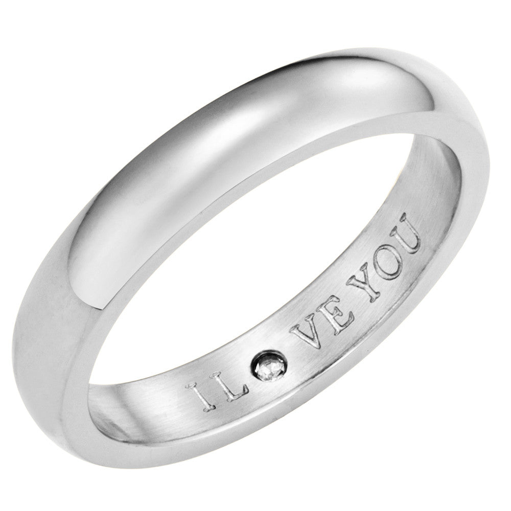 Taylor and Vine Secret Love Stones SIlver Band Ring Engraved I Love You 1