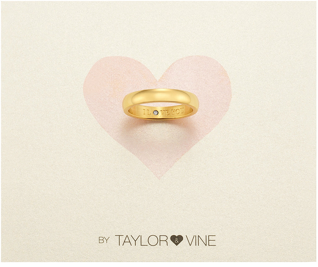Taylor and Vine Secret Love Stones Gold Band Ring Engraved I Love You