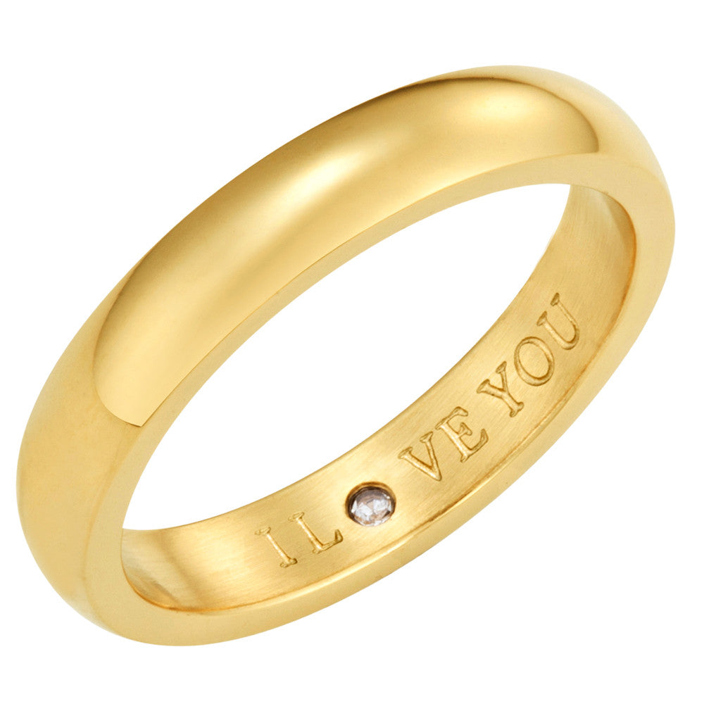 Taylor and Vine Secret Love Stones Gold Band Ring Engraved I Love You 1
