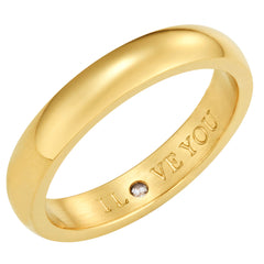 Secret Love Stones Band Ring engraved I Love You with CZ, Gold