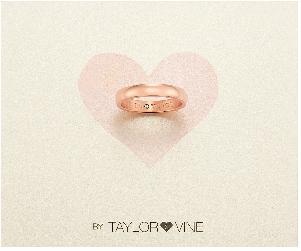 Taylor and Vine Secret Love Stones Rose Gold Band Ring Engraved I Love You