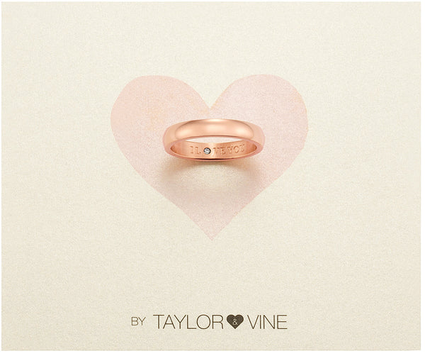 Secret Love Stones Band Ring engraved I Love You with CZ, Rose Gold