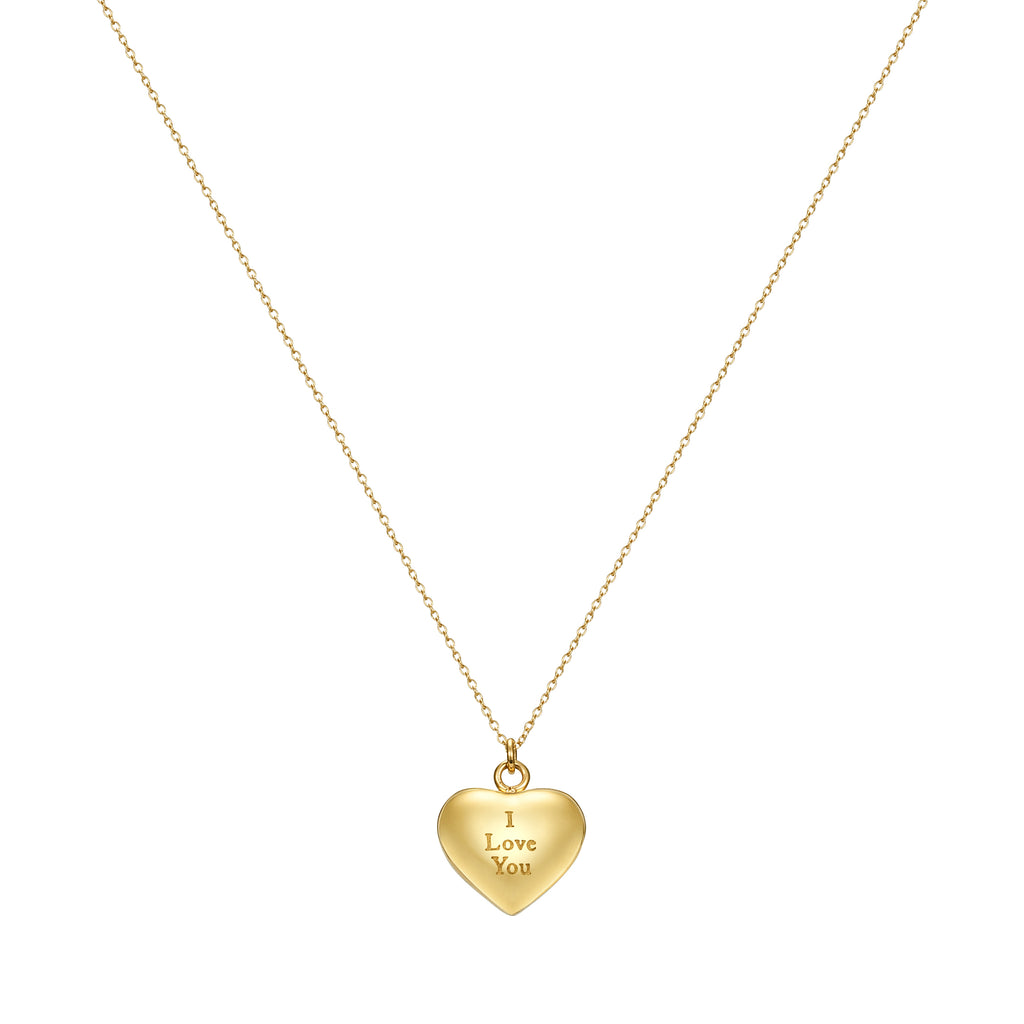 Taylor and Vine Love Letter Heart Pendant Gold Necklace Engraved I Love You