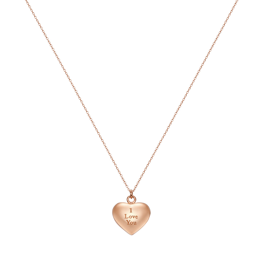 Love Letter Heart Pendant Necklace Engraved I Love You, Rose Gold