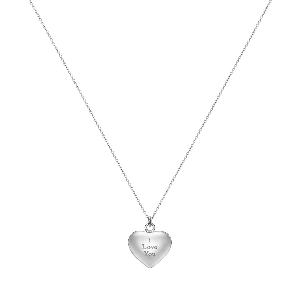 Love Letter Heart Pendant Necklace Engraved I Love You, Silver