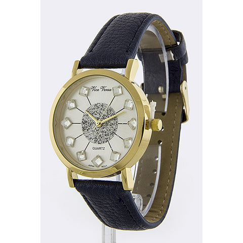 Navy Crystal Dial Leather Band Watch