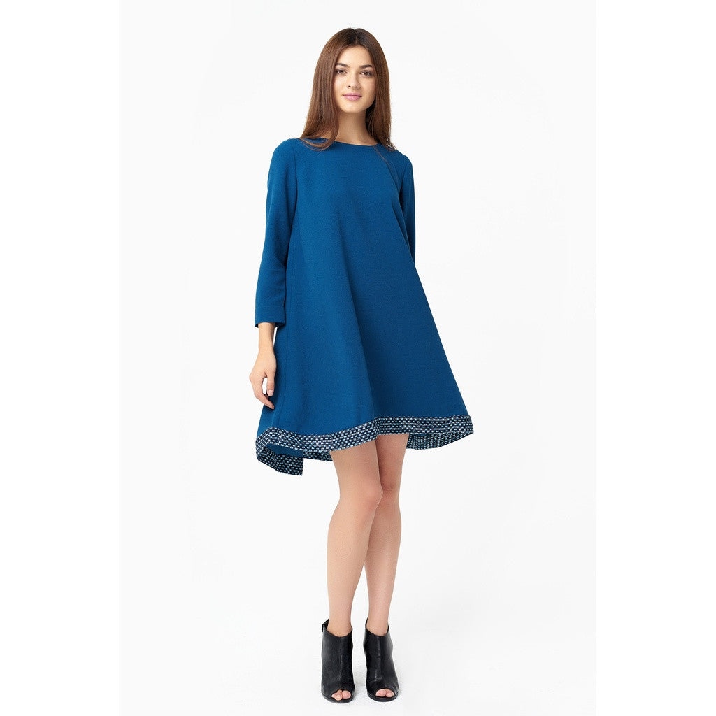 Stylish Flare Dress In Bondi Blue Color