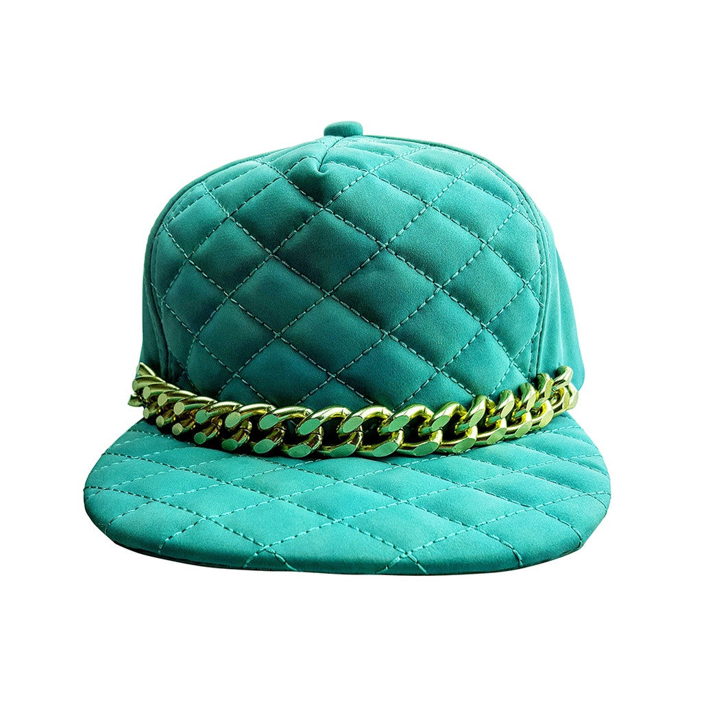 Quilted Tiffany Blue Cap with Large Gold Chain.