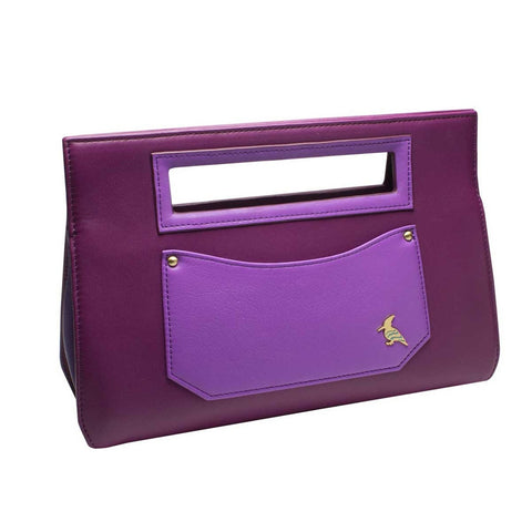 Purple Leather Clutch Handbag