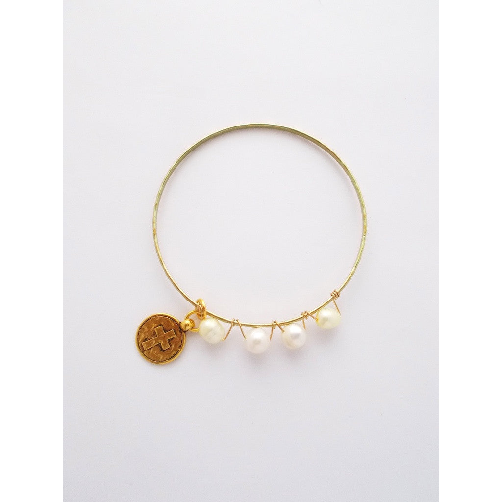 Heavenly Cross Charm Bracelet w/ Gold Charm