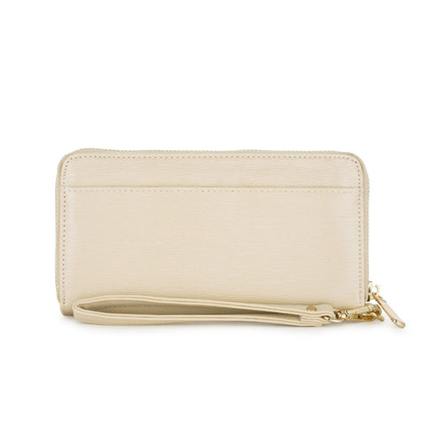 Beige Textured Wristlet Wallet- Le Chic, LLC - Shopstara