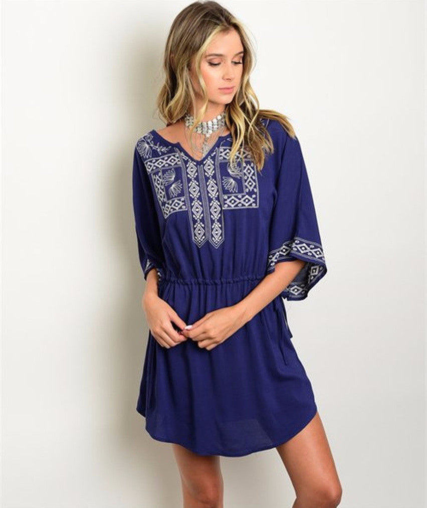 Women's Dress Navy Casual Embroidery Detail