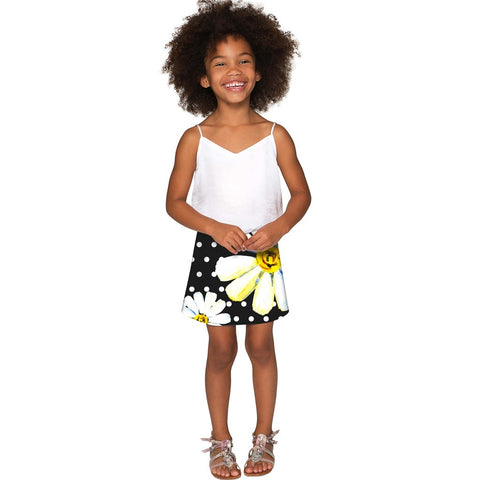 He Loves Me Aria Black Daisy Flower A-Line Skirt - Girls