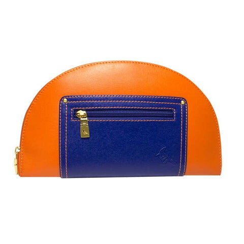 Orange/Navy Saffiano Leather Clutch