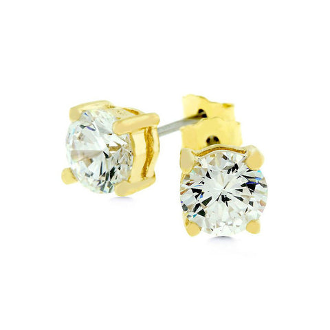 Golden Princess Cut Studs