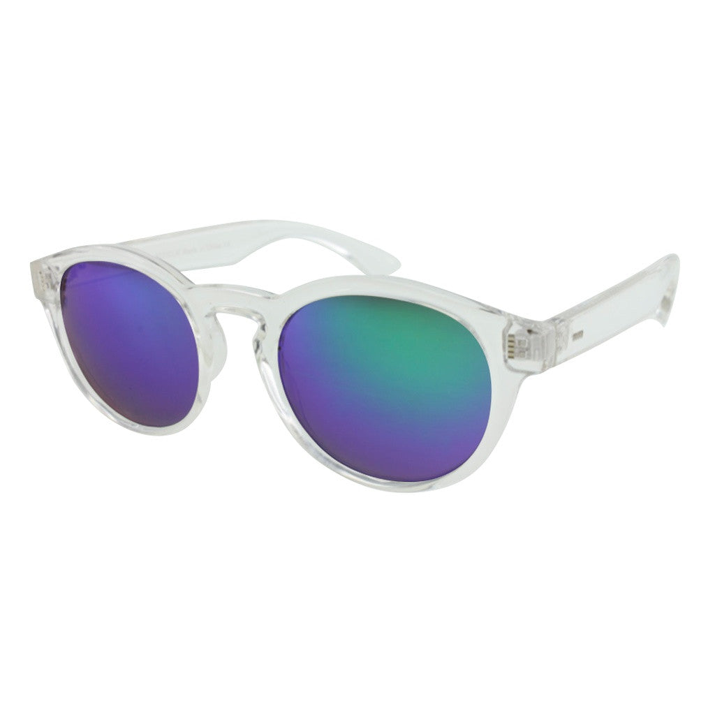 Unisex Clear Frame Sunglasses with Color Mirror Lenses