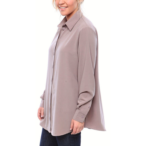 Staple Relaxed Fit Button Down Blouse in Matte Crepe in Slate