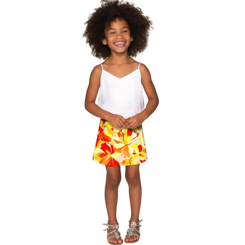 Flaming Hibiscus Aria A-Line Skirt - Girls