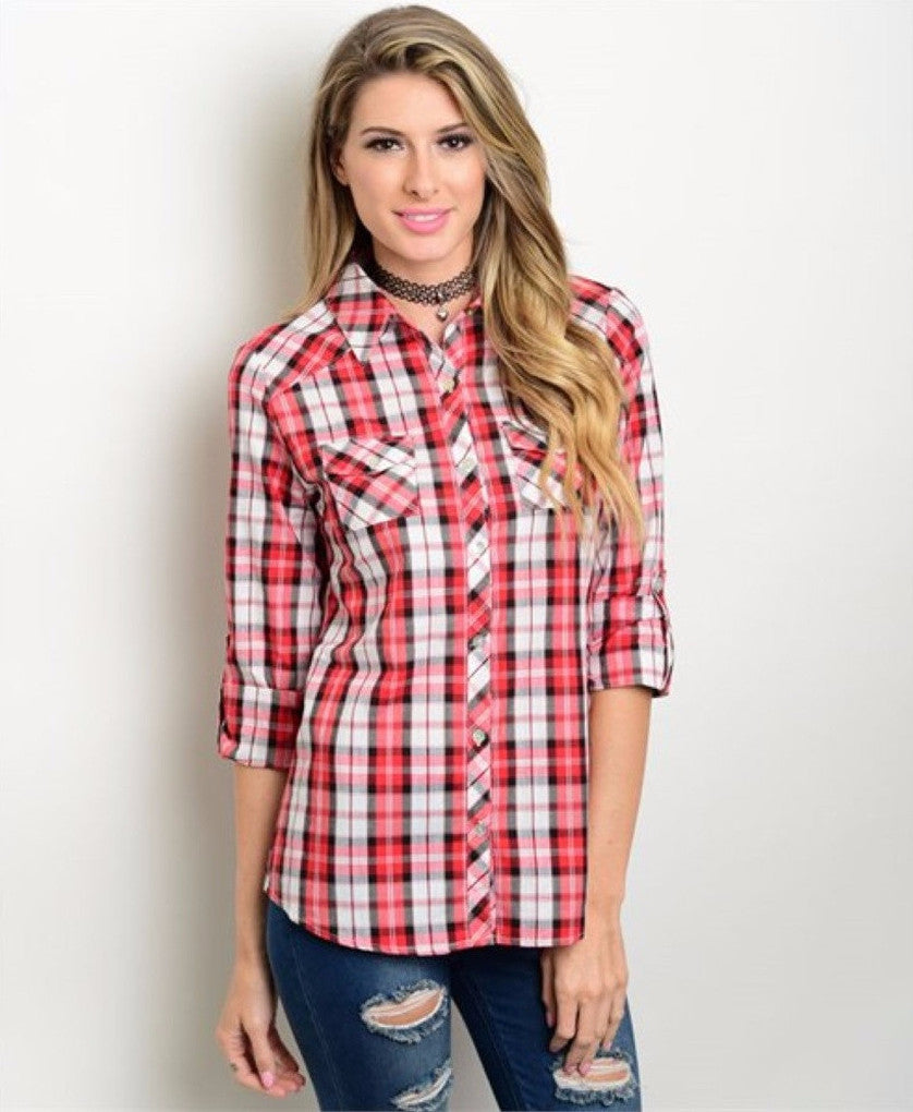Women's Shirts Plaid Button Down Red And White