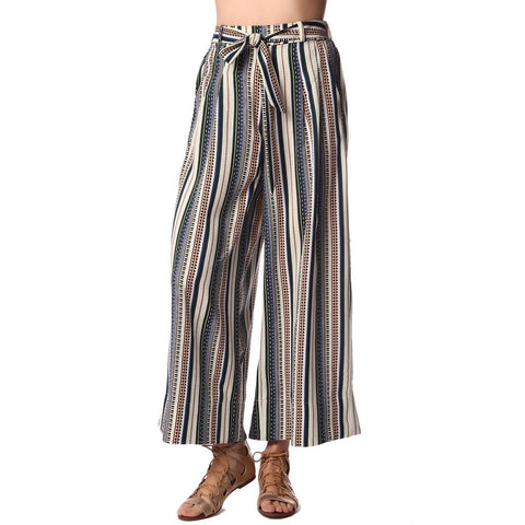 Cream Wide Leg Cropped Pants In Print
