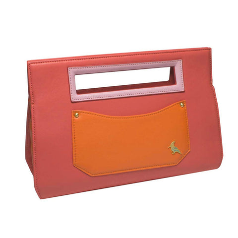 Pink Leather Clutch Handbag