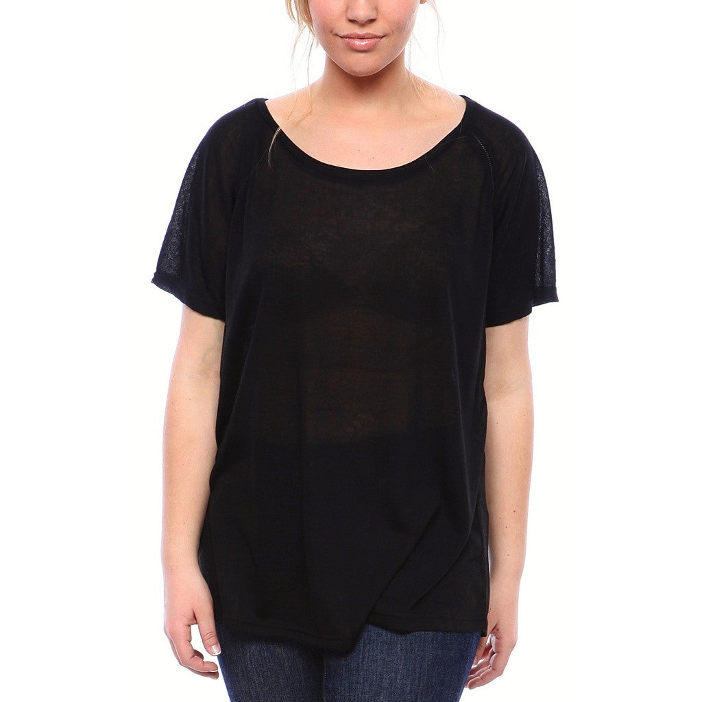 Semi-Sheer Ultra Light Weight Ragland SheerTee with Short Sleeves in Black