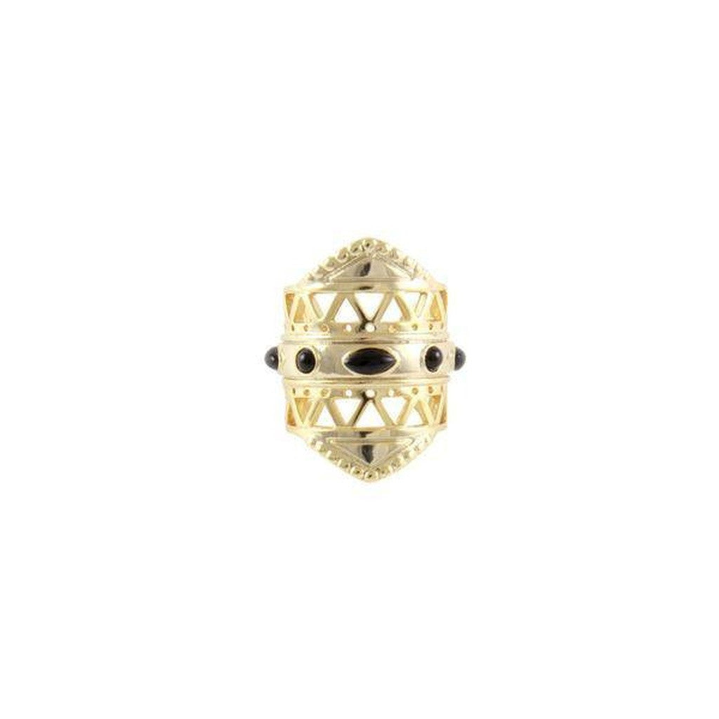 Maya Mastaba Ring in Onyx and Gold
