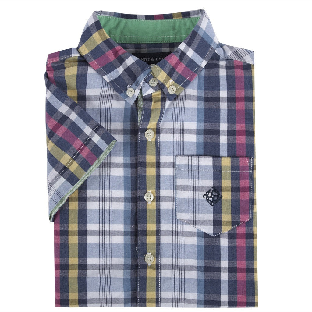 Blue & Pink Madras Short Sleeve Button-down Shirt
