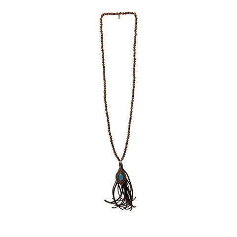 Hippie Wake Up Tiger's Eye Necklace in Opal and Brass