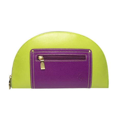 Green/Purple Saffiano Leather Clutch
