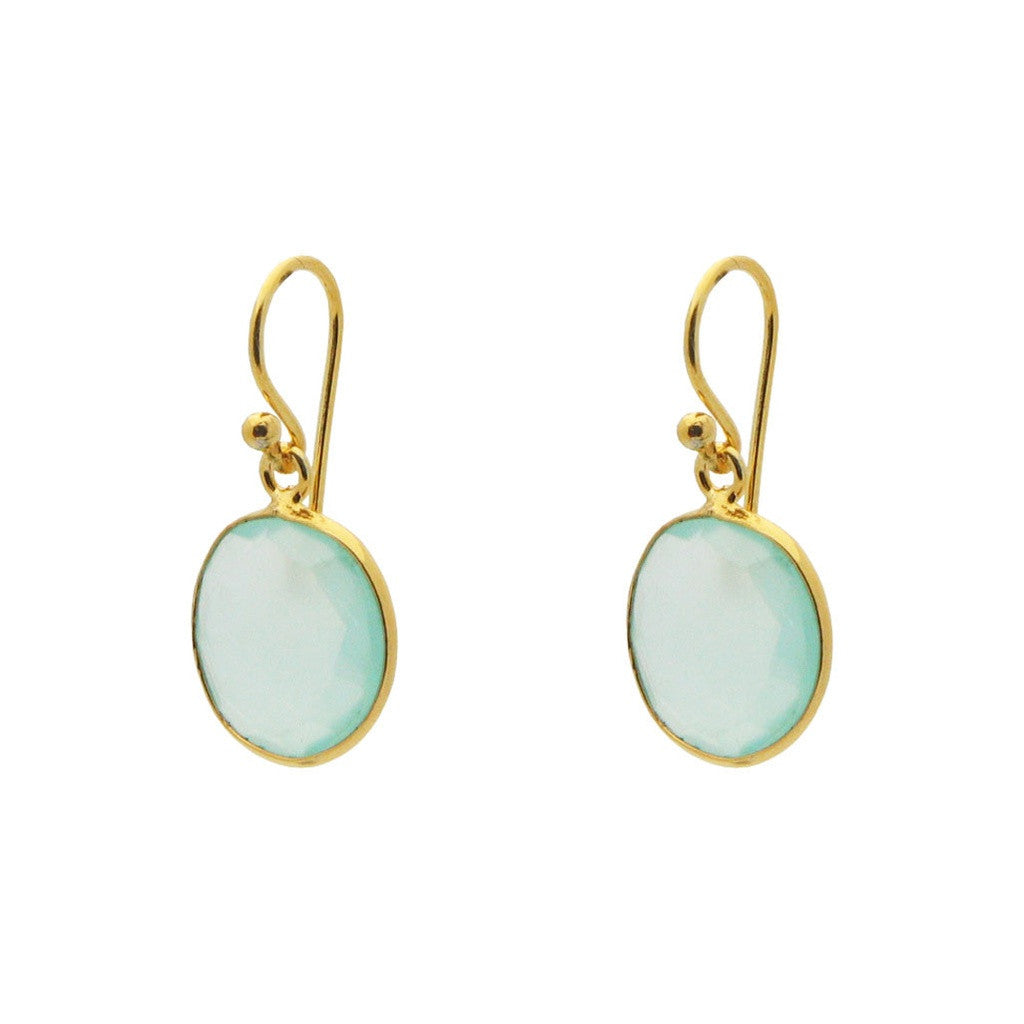 18k Gold Plated Sterling Silver Small Round Milky Blue-Green Chalcedony Earrings, 1.19""