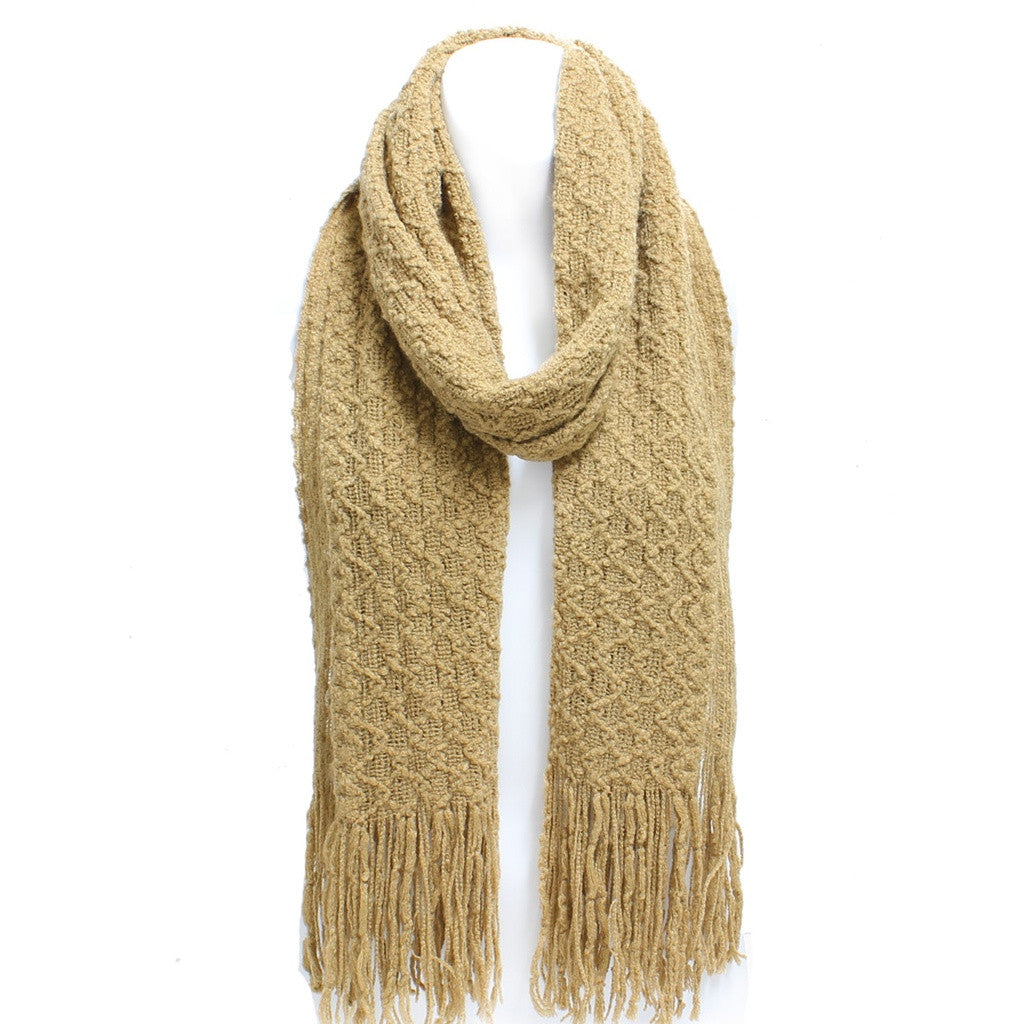 Beige Winter Honeycomb Rectangle Scarf with Fringe- Broadway Sun Ben Trading - Shopstara