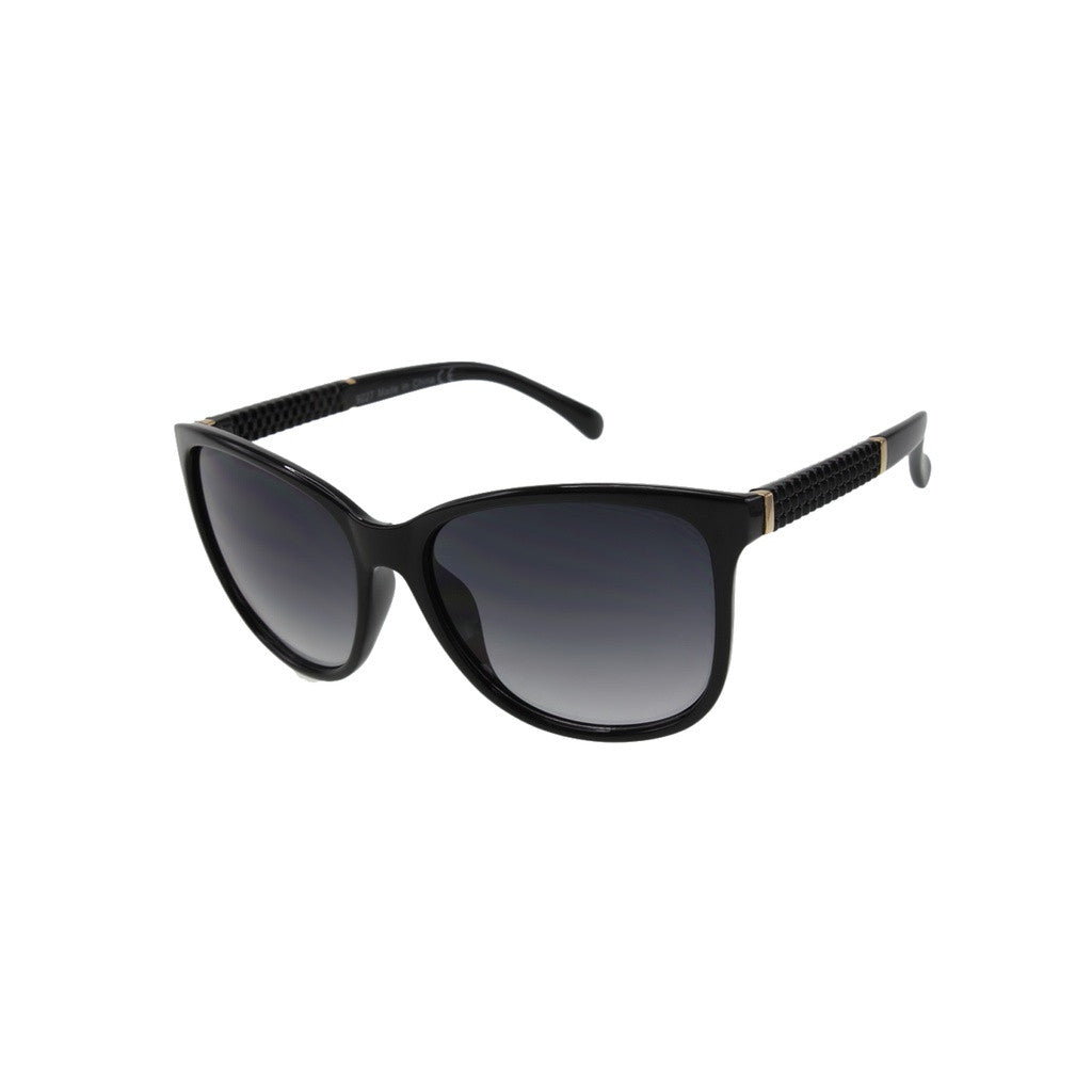 Womens Oversize Black Sunglasses with Metal Accents and Textured Temples