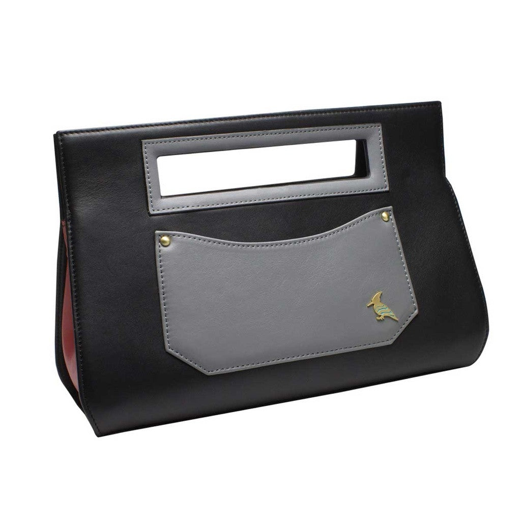 Black Grey Leather Clutch Handbag WAS $146 - NOW 42% off retail